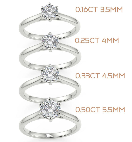Yellow gold diamond solitaire in choice of diamond sizes with 6 claw secure setting