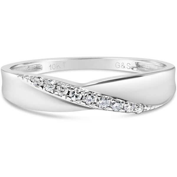 White Gold Diamond Band - Eternity Wedding Band That Also Enhances Solitaire Rings