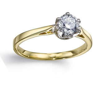 YELLOW GOLD SOLITAIRE RING WITH 1/3CT PREMIUM QUALITY NATURAL DIAMOND - G&S Diamonds
