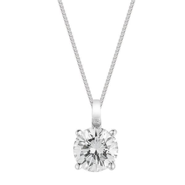 DIAMOND SOLITAIRE PENDANT WHITE GOLD FG VS/SI QUALITY (0.5 CARATS) - G&S Diamonds