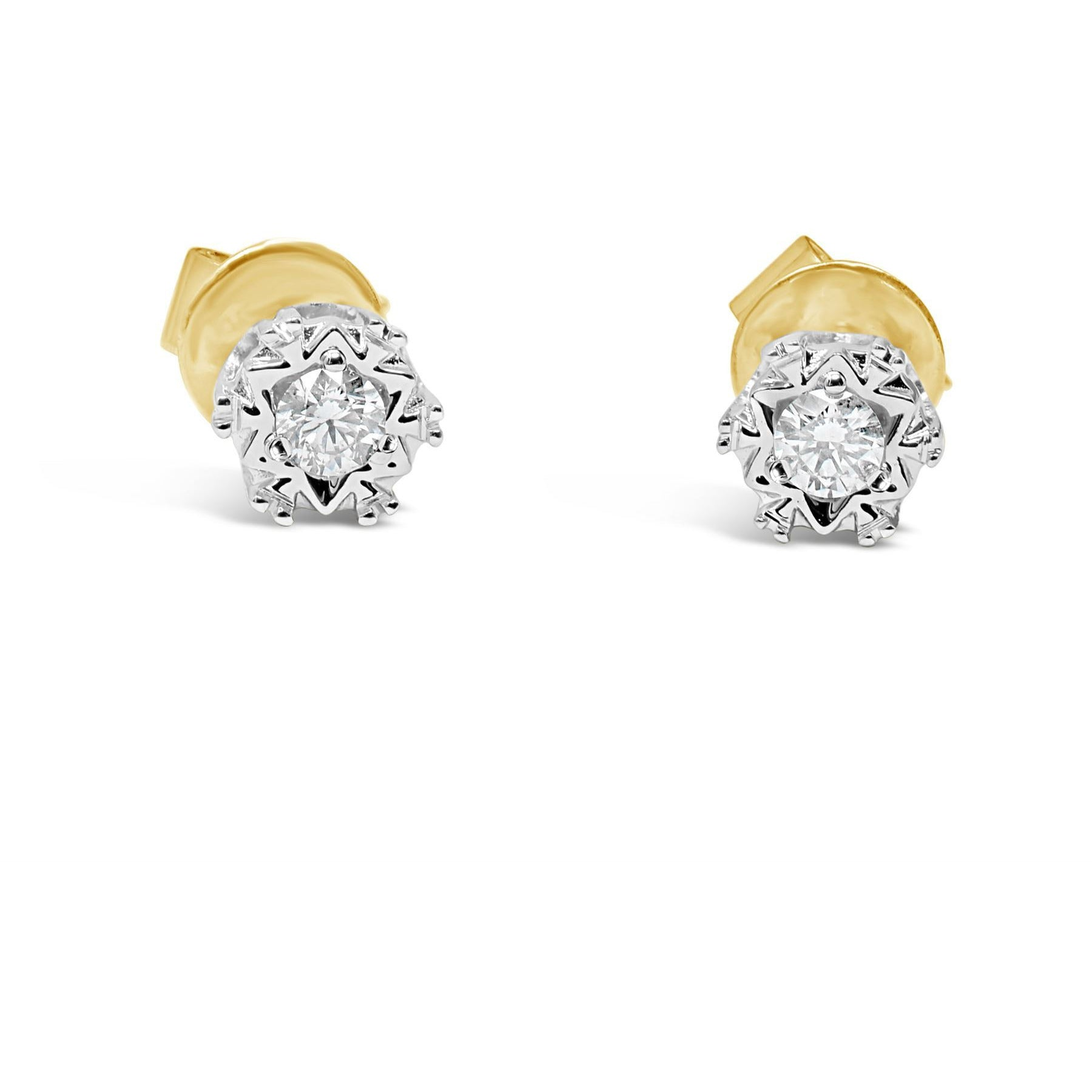 yellow gold diamond earrings with detailed setting and bright diamonds - G&S Diamonds