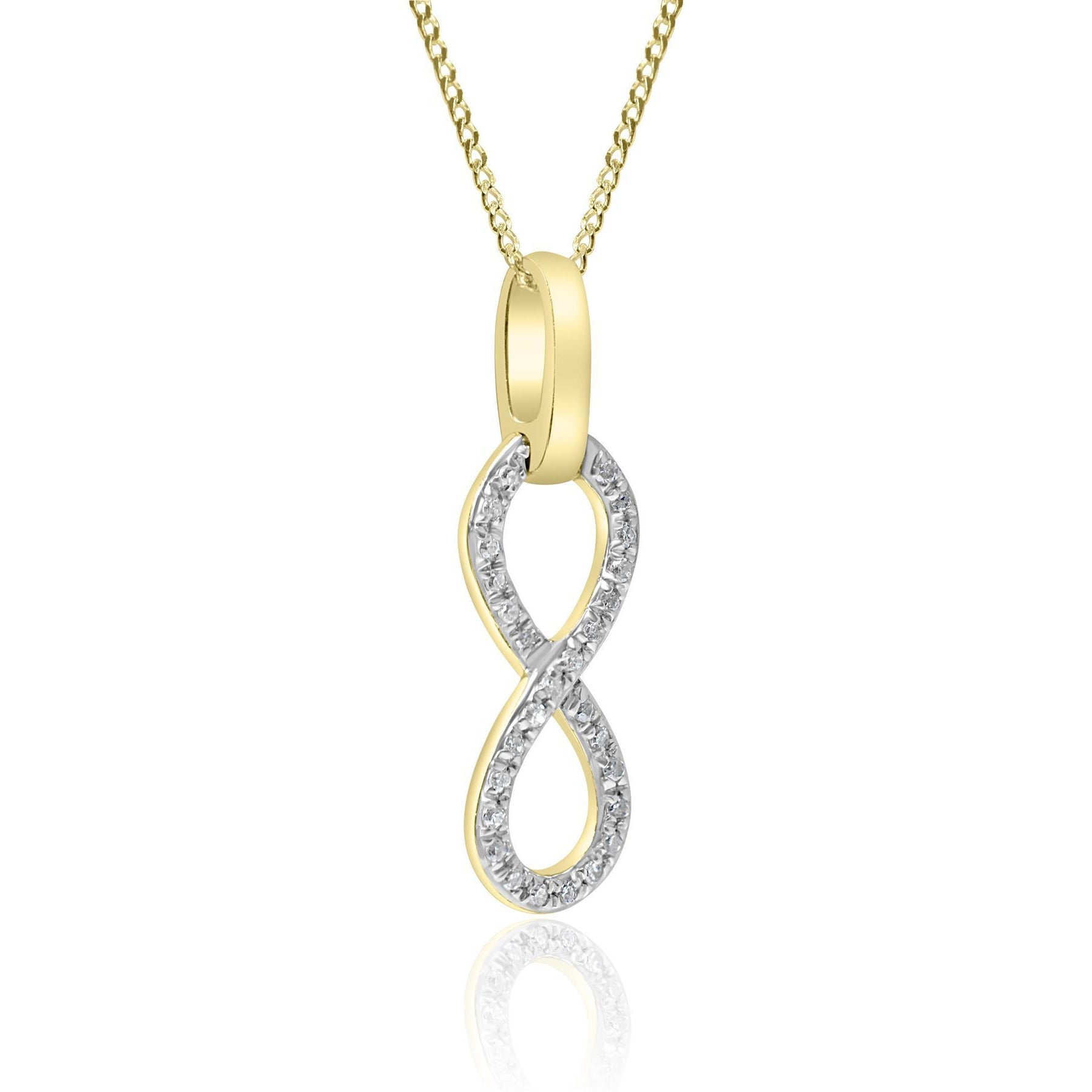 9ct Yellow Gold Diamond Infinity Pendant