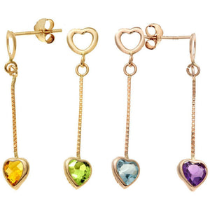 Heart shaped natural gemstones set in yellow gold chain drop earrings,Purple Amethyst, Green Peridot,Yellow Citrine or Blue Topaz you decide. - G&S Diamonds