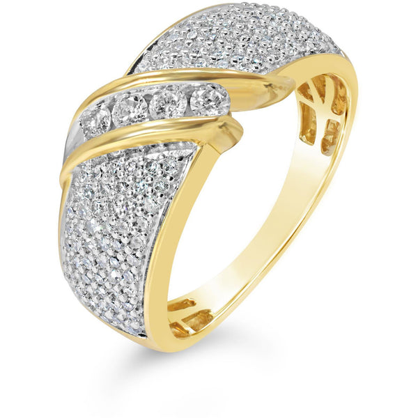 large yellow gold diamond ring - a luxurious ring encrusted with premium quality diamonds
