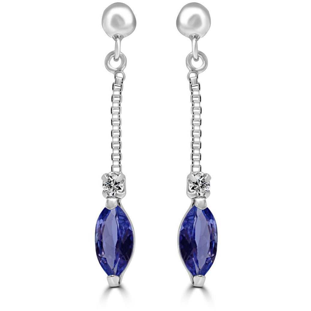 Tanzanite and Diamond drop earrings in 18ct White Gold
