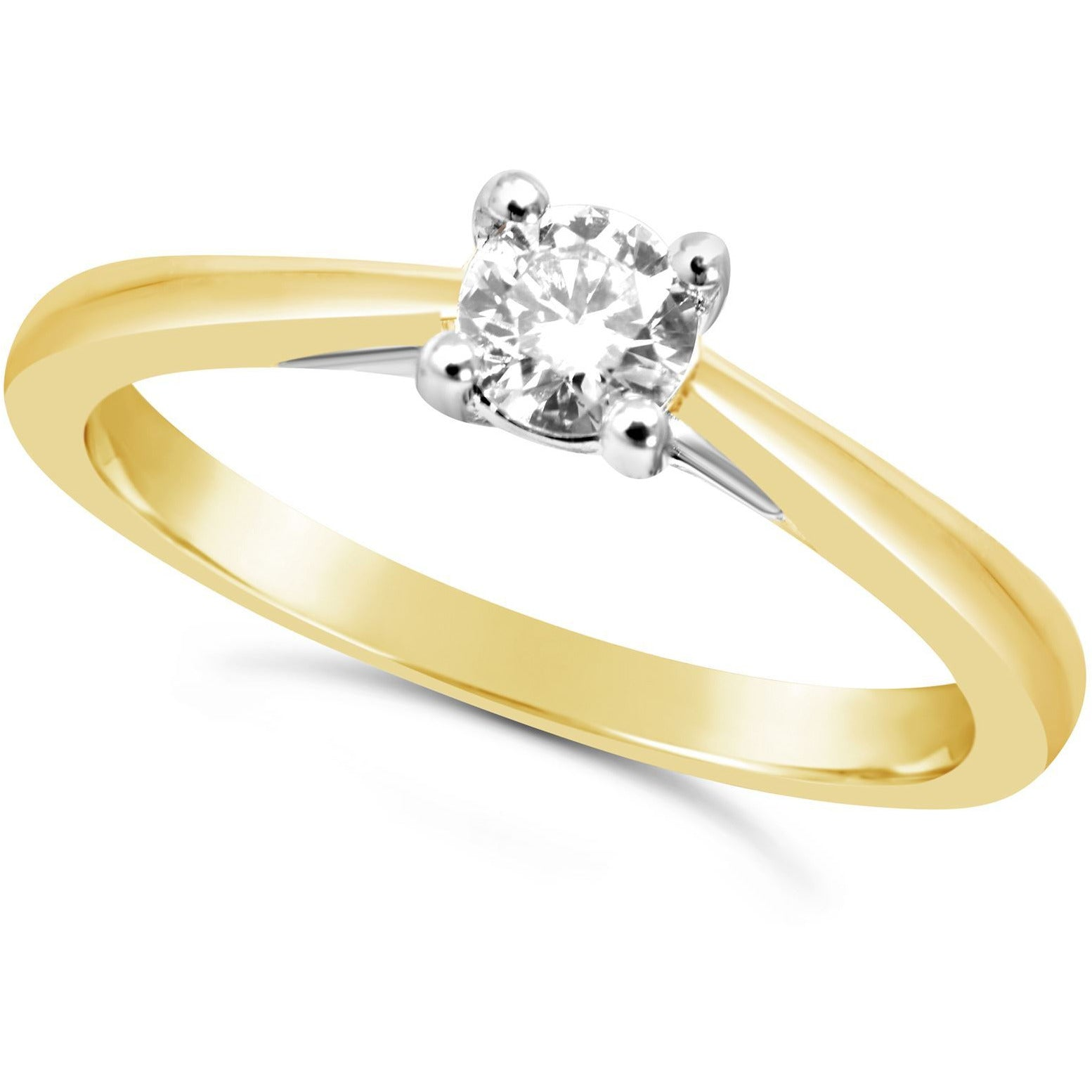 1/4 carat yellow gold diamond ring for women - 4 claw - G&S Diamonds