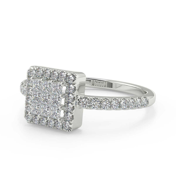 Princess Cut Diamond Cluster White Gold Ring from Women with 1/3 carat of premium natural diamonds