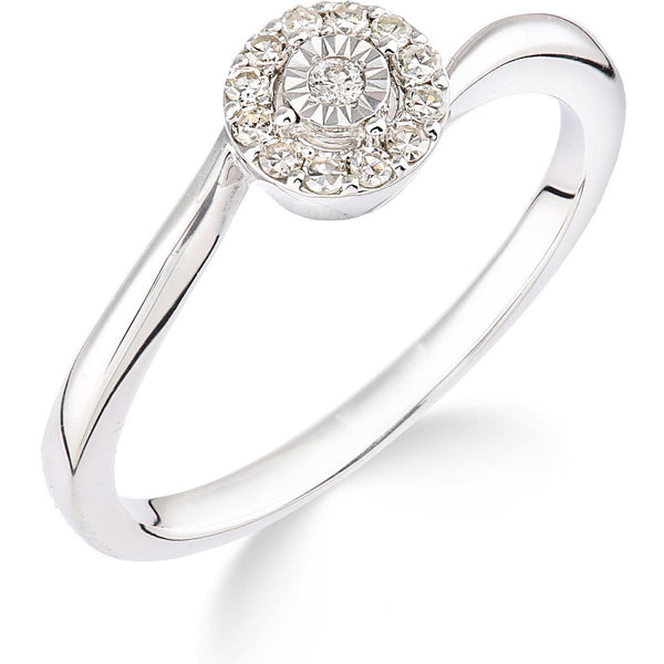 Halo Cluster Solitaire with Slight Cross over White Gold Diamond ring