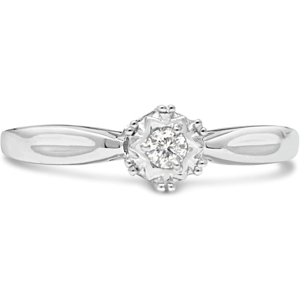 Womens white gold diamond ring with natural solitaire diamond - G&S Diamonds