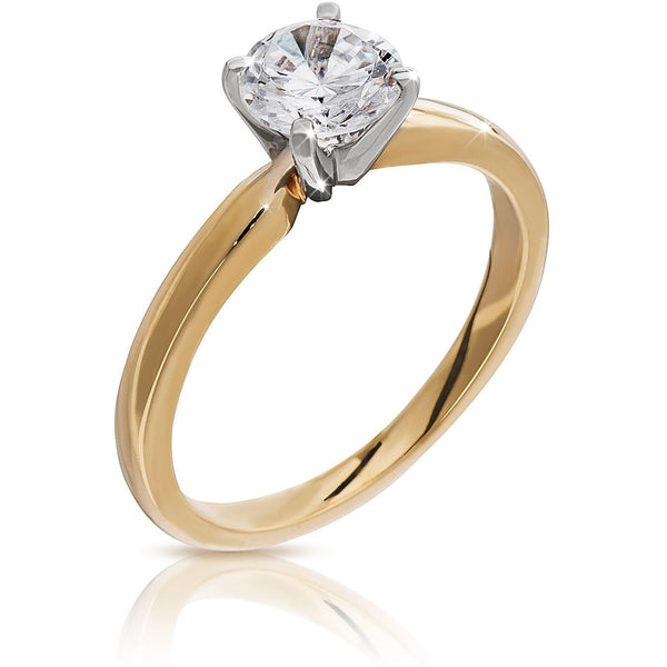 DIAMOND RING 1 CARAT SOLITAIRE YELLOW GOLD FOR WOMEN - G&S Diamonds