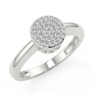 Diamond ring for women with large cluster of white natural diamonds crafted in hallmarked white gold