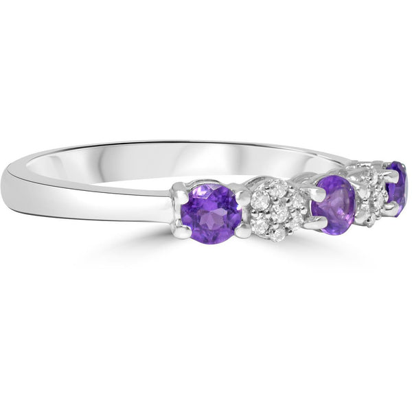 Amethyst and Diamond Eternity Ring in White Gold