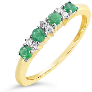 yellow gold emerald and diamond eternity ring for women