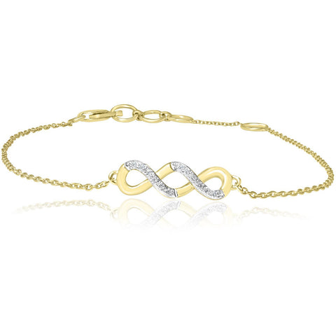 14ct Yellow Gold Diamond Double Infinity Bracelet