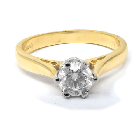 diamond ring yellow gold with 1/2 carat diamond - with certificate