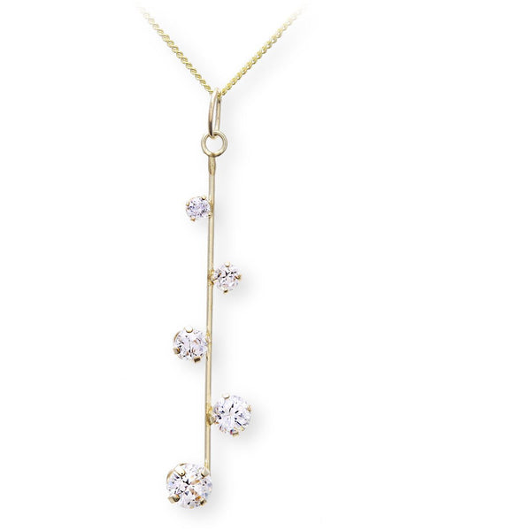 "Dazzling yellow gold pendant with 18"" chain featuring high qualtiy swiss cubic zirconia - G&S Diamonds"