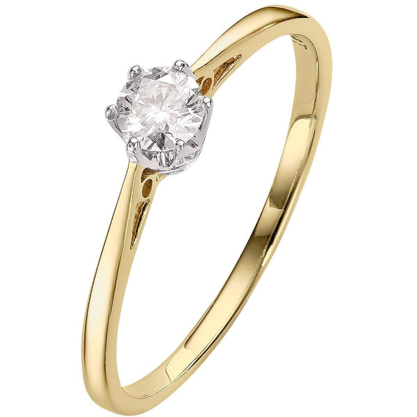 yellow gold diamond engagement ring with 1/4ct solitaire diamond
