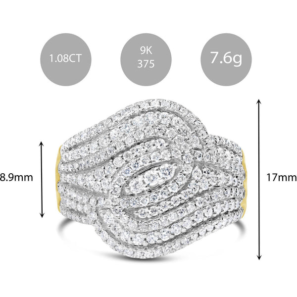 BRILLIANT LOOPS OF DIAMONDS WOMENS RING IN YELLOW GOLD WITH OVER 1 CARAT OF NATURAL DIAMOND STONES - G&S Diamonds