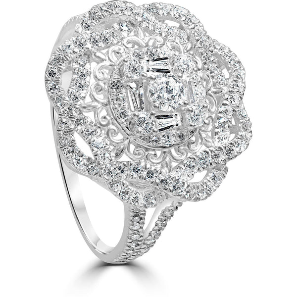 3/4 carat diamond dress ring in white gold for women