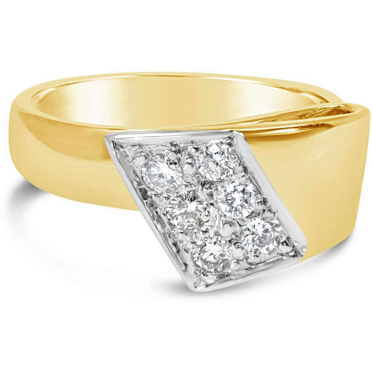 YELLOW GOLD WIDE RIBBON BAND WITH A 1/3CT OF NATURAL EXCELLENT CUT DIAMONDS - G&S Diamonds