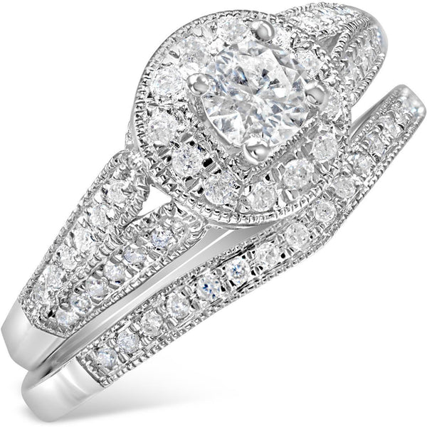 Bridal Set Of Diamond Engagement and Wedding Rings with over 50 diamonds in total