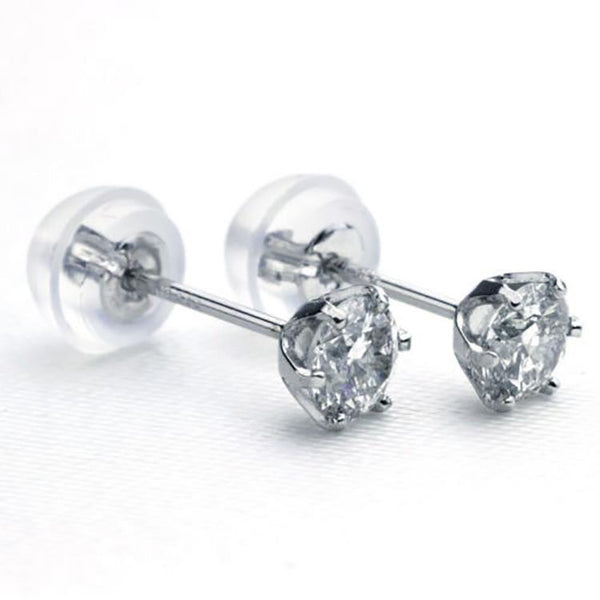 Large Platinum Diamond Stud Earrings for Women