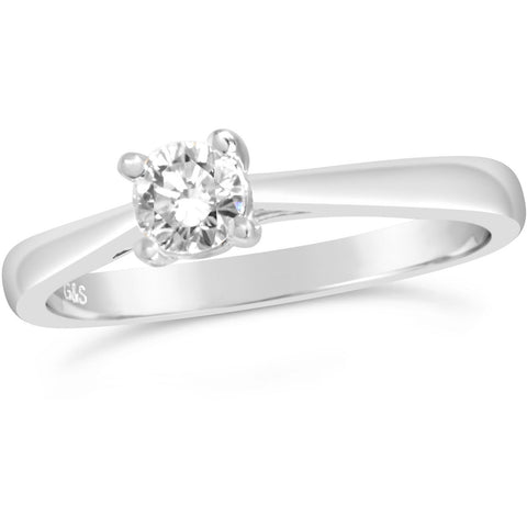 White gold 1/6th carat diamond 4 claw solitaire ring - G&S Diamonds