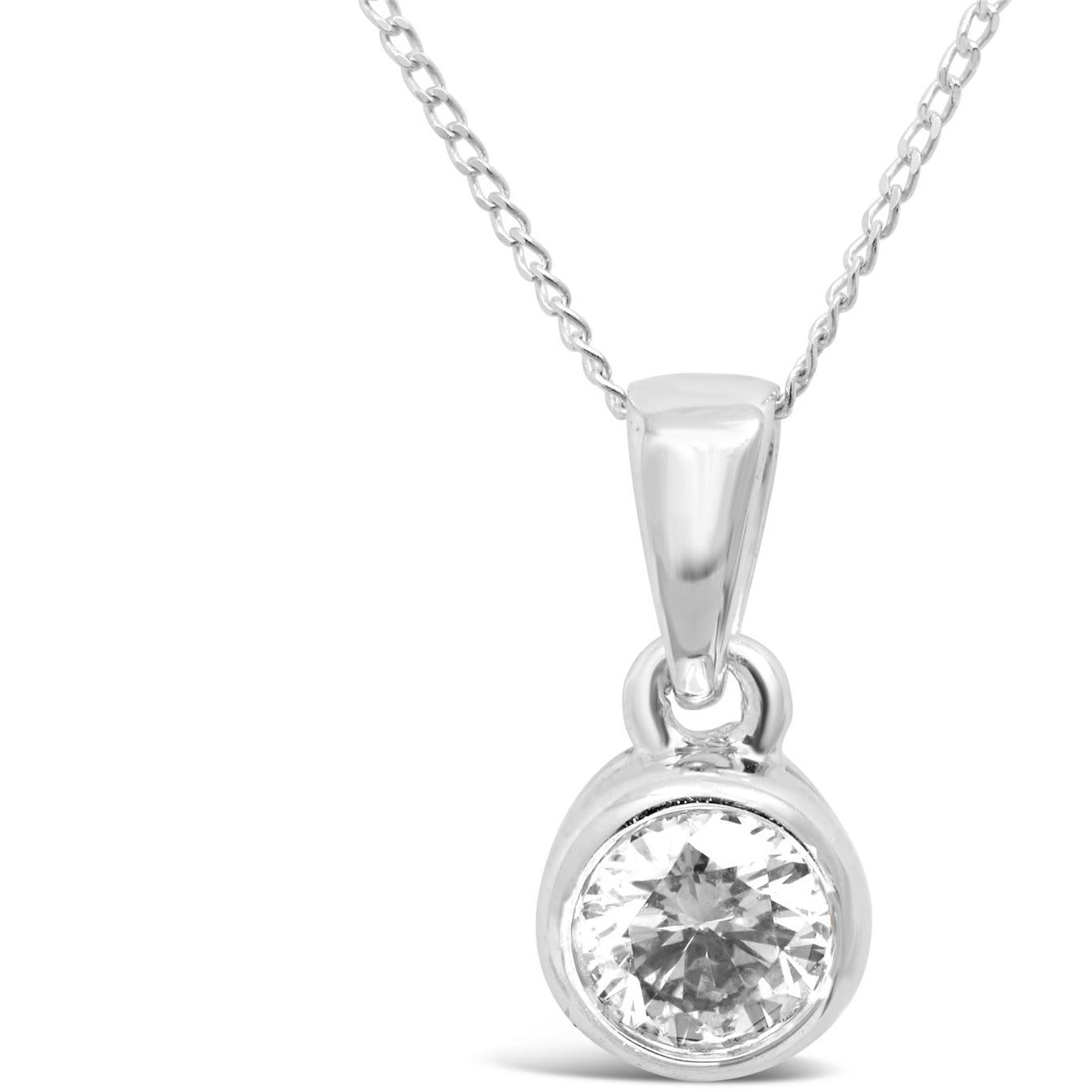 white gold necklace pendant with bezet set diamond for women - G&S Diamonds