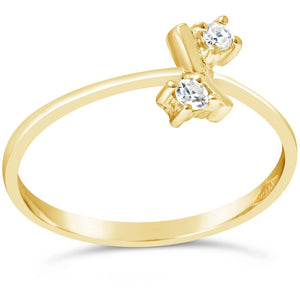 two stone diamond ring in yellow gold - G&S Diamonds