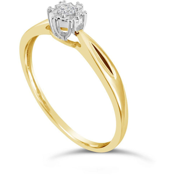 Womens yellow gold diamond ring with natural solitaire diamond - G&S Diamonds