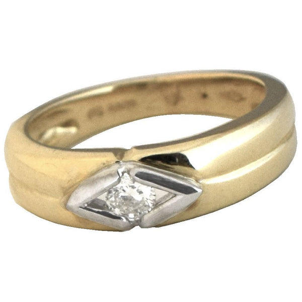 YELLOW GOLD DIAMOND SOLITAIRE THICK BAND RING WITH PREMIUM 1/4 CARAT NATURAL DIAMOND - G&S Diamonds