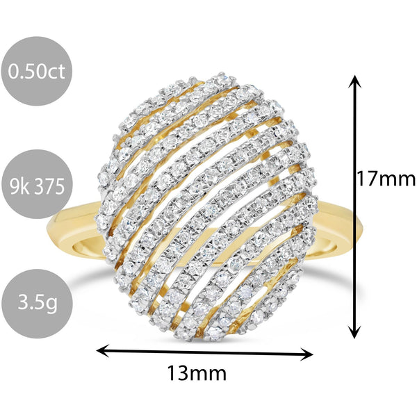 SPECTACULAR LARGE YELLOW GOLD LADIES DIAMOND RING WITH OVER 1/2 CARAT OF DIAMONDS - G&S Diamonds