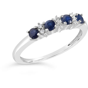 White Gold Sapphire And Diamond Eternity Ring For Women
