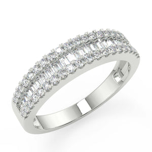 1/2 carat Diamond Eternity Wedding band with baguette and round brilliant natural premium quality diamonds