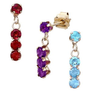 Long drop studs with choice of Amethyst, Blue Topaz or Garnet - perfect yellow gold earrings for women