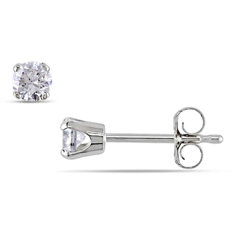 DIAMOND SOLITAIRE STUD EARRINGS FOR WOMEN 0.25 CARAT TOTAL IN WHITE GOLD (14C... - G&S Diamonds