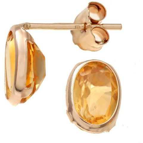 Citrine Oval Earrings in 9ct yellow Gold