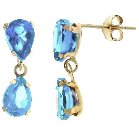 Double stone Blue Topaz Dangle Earrings in 9ct Yellow Gold