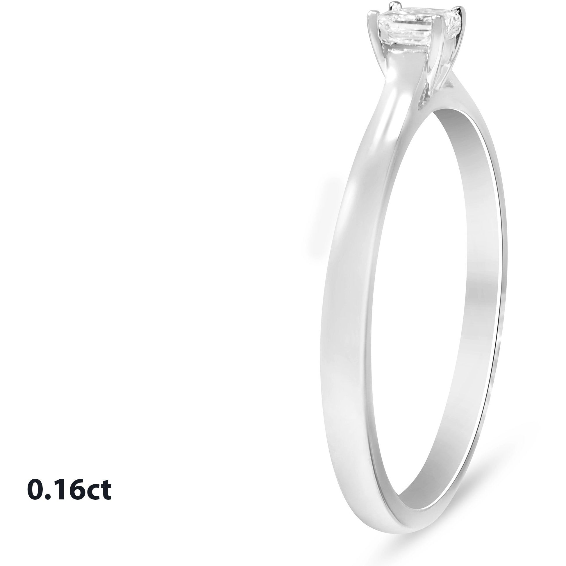 Premium Quality Princess Cut Solitaire Diamond Rings in 9ct White Gold