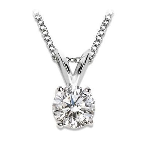 SOLITAIRE DIAMOND PENDANT NECKLACE WHITE GOLD - G&S Diamonds