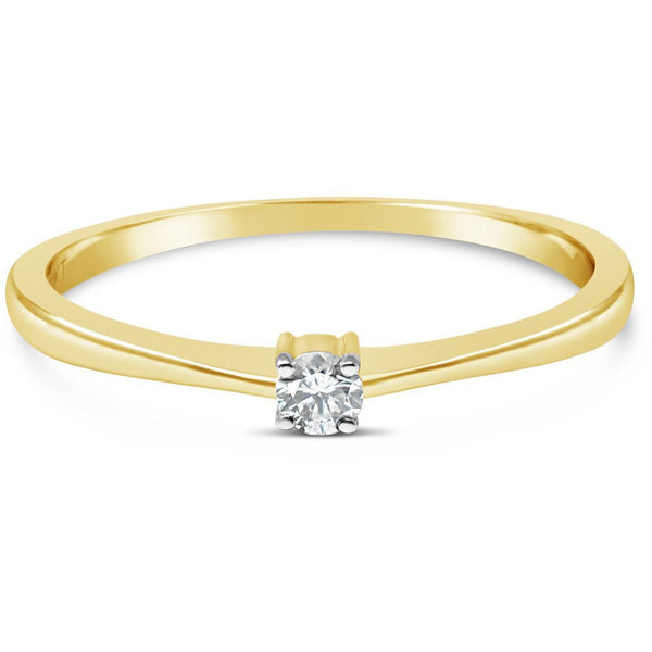 diamond rings for women yellow gold with a small solitaire diamond - G&S Diamonds