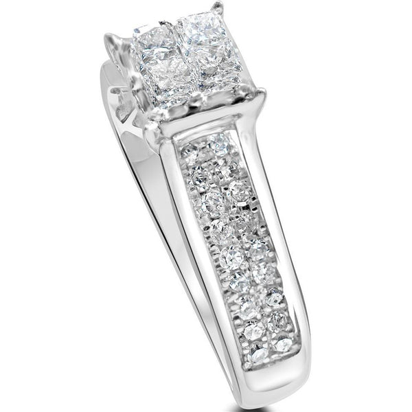 1 carat diamond ring - princess cut square cluster with diamond set shoulders