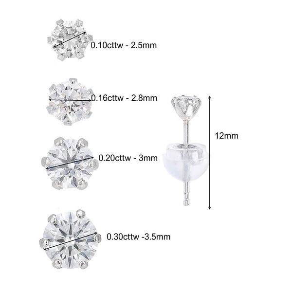 PLATINUM DIAMOND EARRINGS STUDS FOR WOMEN 1/10 CARAT - G&S Diamonds