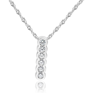6 Stone Diamond Drop Necklace (0.31ct) Bezel Set in 14K White Gold
