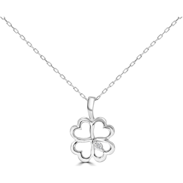 White Gold Necklace Lucky Clover Heart Shape with Diamond Accent