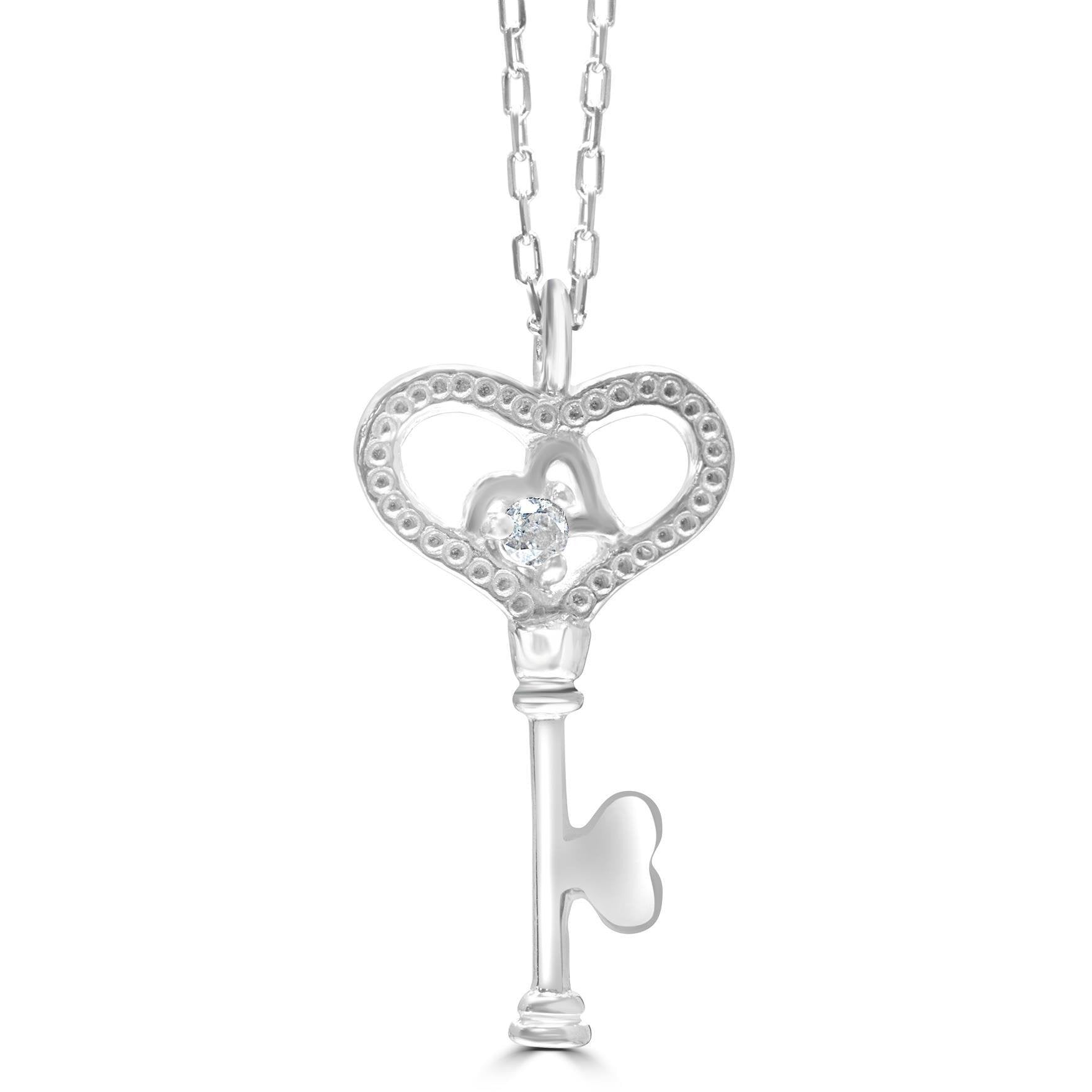 Key to the Door White Gold Pendant with diamond accents