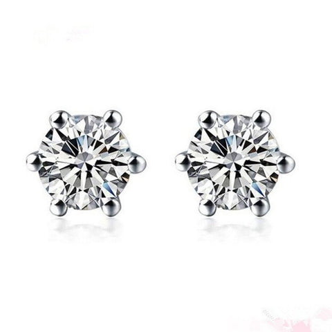 DIAMOND SOLITAIRE EARRINGS STUDS FOR WOMEN SET IN PLATINUM (PLATINUM, 0.50) - G&S Diamonds