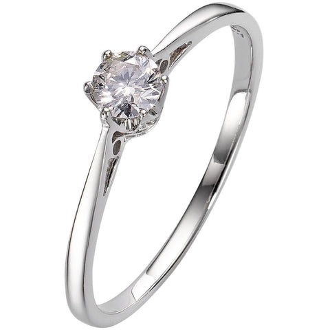 PLATINUM DIAMOND ENGAGEMENT SOLITAIRE RING 6 CLAW BRILLIANT CUT 1/5 CARAT H-SI2 - G&S Diamonds