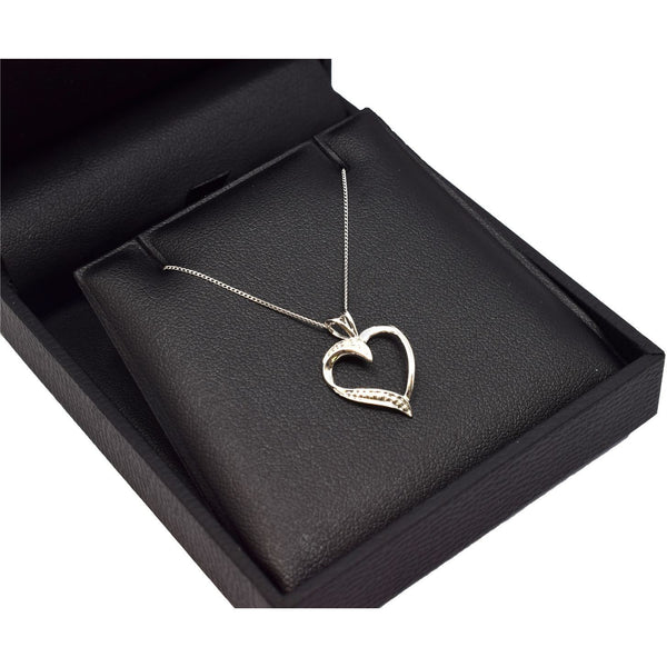 HEART SHAPED DIAMOND PENDANT WITH NECKLACE WHITE GOLD - G&S Diamonds