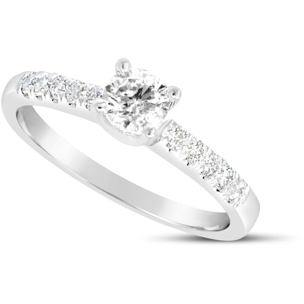 0.50 carat solitaire white gold diamond ring with large diamonds on the shoulders